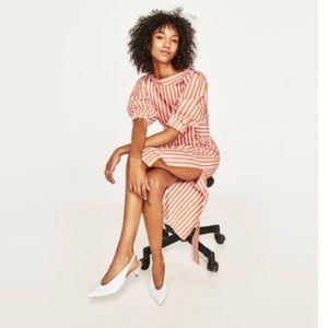 ZARA Orange White Striped Side Slit Midi Dress S